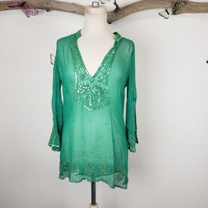 Bcbgmaxazria green beaded silk tunic